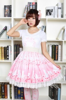 Pink Sakura and Cat Printing Sweet Lolita Skirt