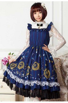 Navy Blue Moon and Stars Magic Printing High Waist Sweet Lolita Dress