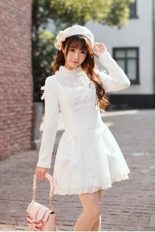 White Slim Long Sleeves Round Collar Princess