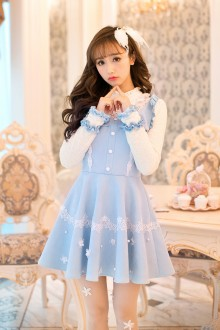 Sky Blue Long Sleeves Slim Bow Knot Princess Sweet Lolita Dress