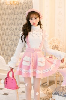 Pink Woolen Bow Knot Sweet Suspender Skirt