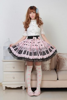 Pink Cat On The Piano Keys Lace Sweet Lolita Skirt