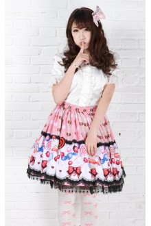 Pink Lollipops Printing Bow Knot Flouncing Sweet Lolita Skirt