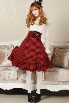 Red Vintage High Waist Slim Flouncing Classic Lolita Skirt