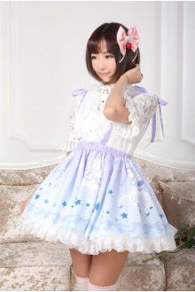 Light Blue Pegasus Printing Blue Bow Knot Lace Sweet Lolita Suspender Skirt