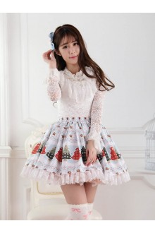 Light Blue Christmas Star Printing Lace Sweet Lolita Skirt