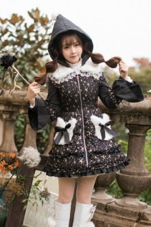 Black Sweet Princess Stars Printing Long Sleeves Sweet Lolita Coat