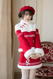 Red College Style Long Sleeves Round Collar Sweet Lolita Coat
