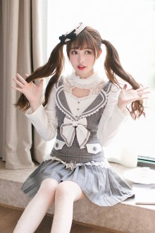Gray Sweet College Style Lace Bow Knot Round Collar Princess Sweet Lolita Dress