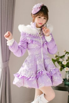 Purple Sweet Princess Fox Stand Collar Long Sleeves Lolita Coat
