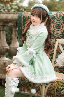Light Green Sweet Princess Long Sleeves Stand Collar Slim Lolita Coat