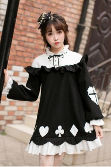 Black Sweet Poker Printing Slim Long Sleeves Sweet Lolita Dress