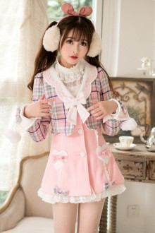 Pink Sweet Princess Slim Plaid Printing Fake Two Pieces Sweet Lolita Coat