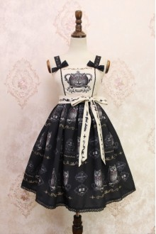 White and Black Owl Printing Sweet Lolita JSK Dress Style One