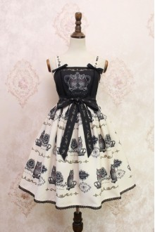 White and Black Owl Printing Sweet Lolita JSK Dress Style Two