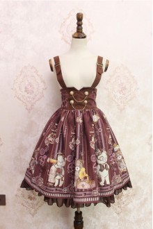 Brown Steam Bear Printing Flouncing Double Breasted High Waist Lolita Strap Dress