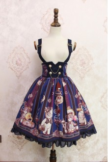Blue Steam Bear Printing Flouncing Double Breasted High Waist Lolita Strap Dress