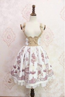White Steam Bear Printing Flouncing Double Breasted High Waist Lolita Strap Dress