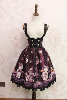 Black Steam Bear Printing Flouncing Double Breasted High Waist Lolita Strap Dress