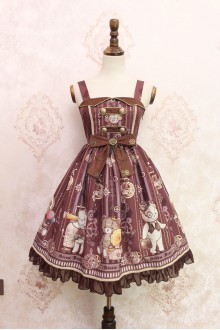 Brown Steam Bear Gear Printing Flouncing Lace Sweet Lolita JSK Dress