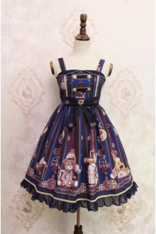 Blue Steam Bear Gear Printing Flouncing Lace Sweet Lolita JSK Dress