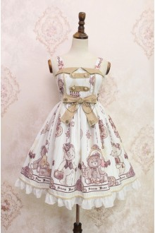 White Steam Bear Gear Printing Flouncing Lace Sweet Lolita JSK Dress