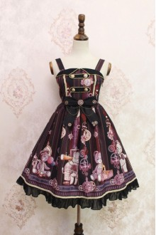 Black Steam Bear Gear Printing Flouncing Lace Sweet Lolita JSK Dress