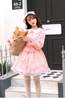 Pink Sweet Lace Doll Collar High Waist Bow Knot Lolita Dress