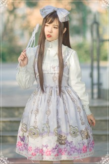 Light Purple Chiffon High Waist Sleeveless Bow Knot Flouncing Sweet Lolita Dress