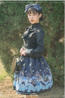 Dark Blue Chiffon Slim High Waist Sweet Lolita Skirt
