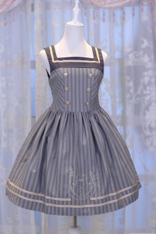 Gray Chess Story Magic Music Institute Violin Embroidery College Style Sweet Lolita JSK Dress