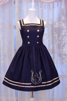 Dark Blue Chess Story Magic Music Institute Violin Embroidery College Style Sweet Lolita JSK Dress