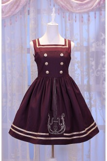 Wine Chess Story Magic Music Institute Violin Embroidery College Style Sweet Lolita JSK Dress