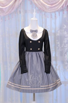 Gray Chess Story Magic Music Institute Violin Embroidery College Style Sweet Lolita OP Dress