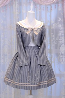 Gray Chess Story Magic Music Institute Violin Embroidery College Style Sweet Lolita Skirt + Coat