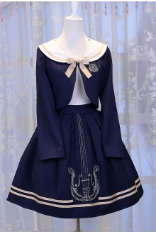 Dark Blue Chess Story Magic Music Institute Violin Embroidery College Style Sweet Lolita Skirt + Coat