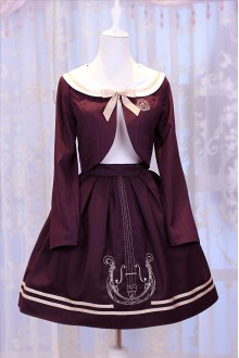 Wine Chess Story Magic Music Institute Violin Embroidery College Style Sweet Lolita Skirt + Coat
