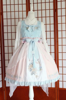 Pink Blue Chess Story Chinese Style Embroidery Sweet Lolita JSK Dress