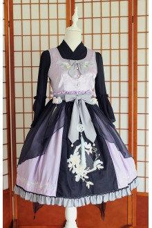 Black Purple  Chess Story Chinese Style Embroidery Sweet Lolita JSK Dress