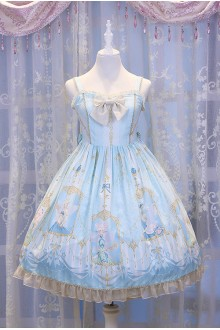 Light Blue Chess Story Elves Secret Key Printing Sweet Lolita JSK Dress