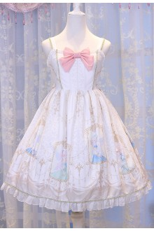 Ivory Chess Story Elves Secret Key Printing Sweet Lolita JSK Dress