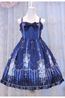 Dark Blue Chess Story Elves Secret Key Printing Sweet Lolita JSK Dress