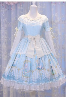 Light Blue Chess Story Elves Secret Key Printing Sweet Lolita OP Dress