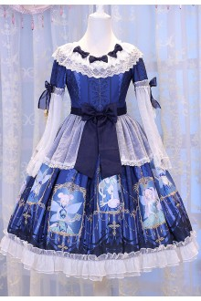 Dark Blue Chess Story Elves Secret Key Printing Sweet Lolita OP Dress
