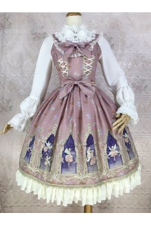 Dark Pink Yilia Dream Elf Printing Chiffon Sweet Lolita Dress