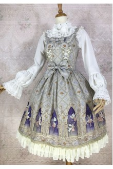 Gray Yilia Dream Elf Printing Chiffon Sweet Lolita Dress