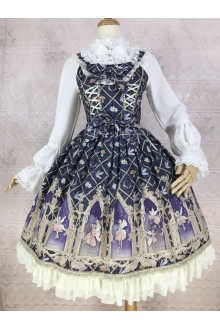 Black Yilia Dream Elf Printing Chiffon Sweet Lolita Dress