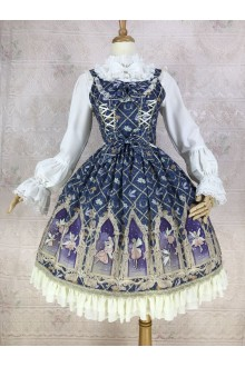 Dark Blue Yilia Dream Elf Printing Chiffon Sweet Lolita Dress