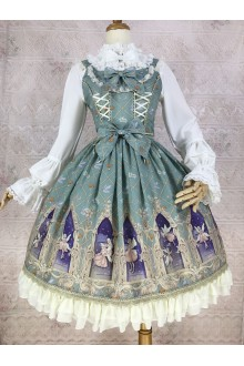 Light Blue Yilia Dream Elf Printing Chiffon Sweet Lolita Dress