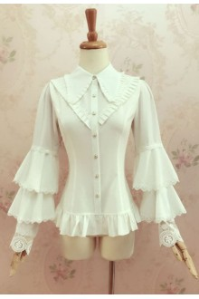 Yilia Lace Slim Trumpet Long Sleeves Lolita Blouse